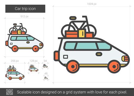 Car trip line icon. Illusztráció