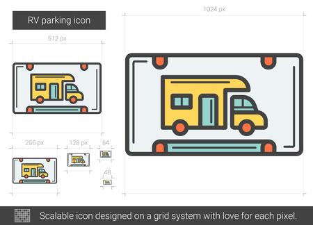 roadsign: RV parking line icon.