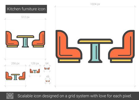 Kitchen furniture line icon. Ilustrace