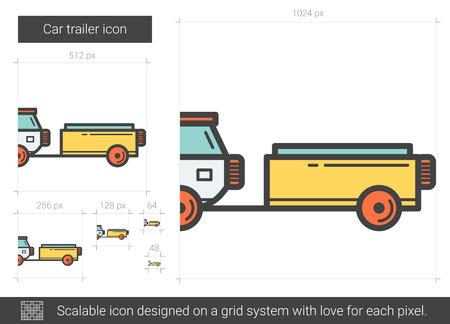 Car trailer line icon. Ilustrace