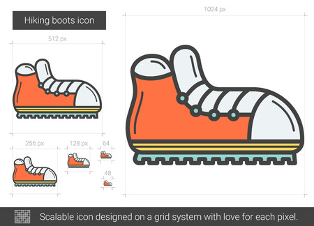 spiked: Hiking boots line icon. Illustration