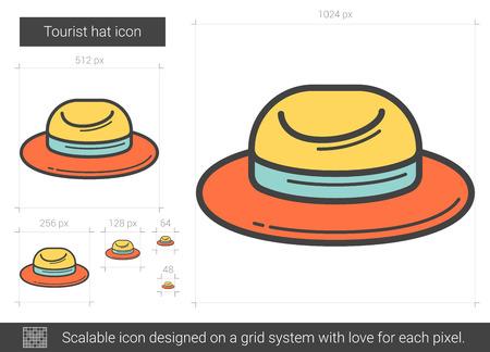 Tourist hat line icon.