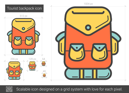 Tourist backpack line icon.