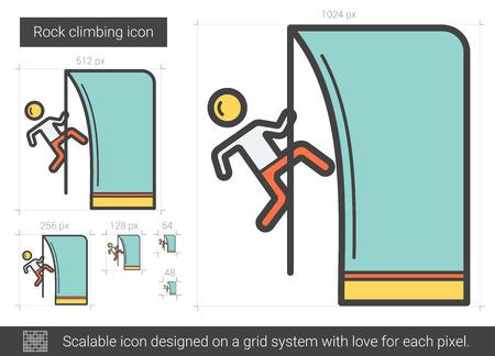 cling: Rock climbing line icon. Illustration