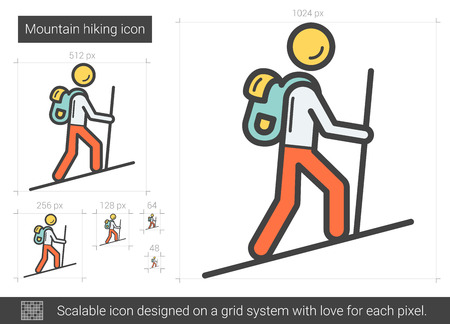 Mountain hiking line icon.