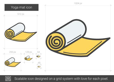 Yoga mat line icon.