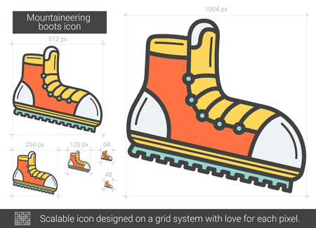 pairs: Mountaineering boots line icon. Illustration