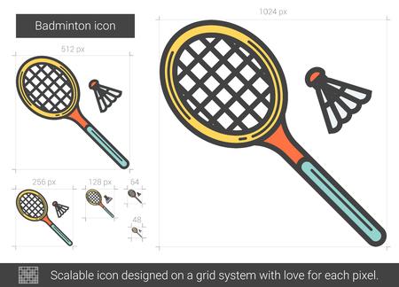 battledore: Badminton line icon.