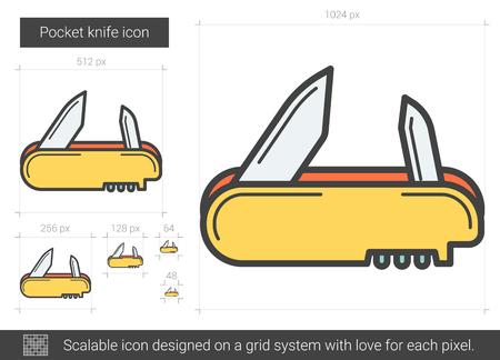 ポケット ナイフの線のアイコン。  イラスト・ベクター素材