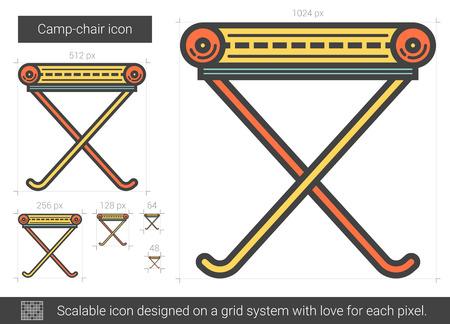 キャンプ椅子線アイコン。