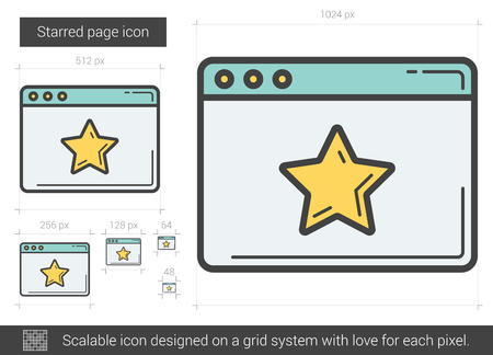 Starred page line icon. Illustration