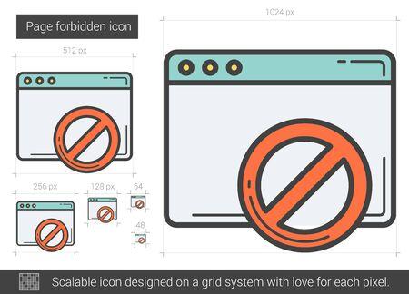 forbid: Page forbidden line icon. Illustration