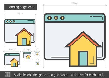 web development: Landing page line icon. Illustration