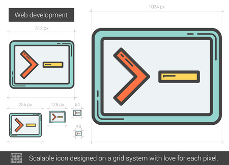 web development: Web development line icon.