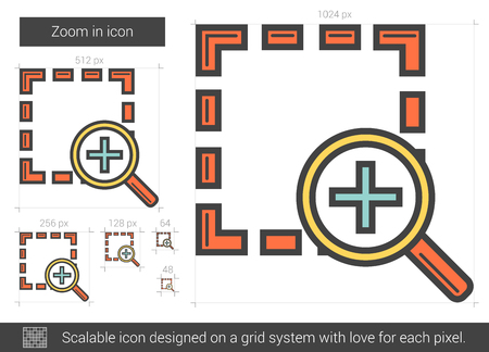 Zoom in vector line icon isolated on white background. Zoom in line icon for infographic, website or app. Scalable icon designed on a grid system. Stock Illustratie