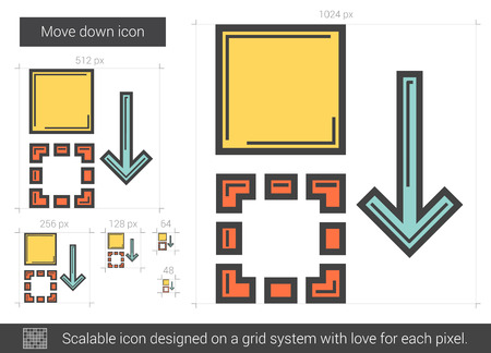 scalable: Move down vector line icon isolated on white background. Move down line icon for infographic, website or app. Scalable icon designed on a grid system.