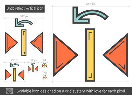 reflect: Undo reflect vertical line icon. Illustration