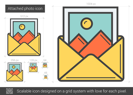 attached: Attached photo vector line icon isolated on white background. Attached photo line icon for infographic, website or app. Scalable icon designed on a grid system. Illustration