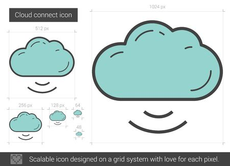 uploading: Cloud connect vector line icon isolated on white background. Cloud connect line icon for infographic, website or app. Scalable icon designed on a grid system. Illustration