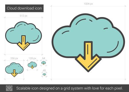 Cloud download vector line icon isolated on white background. Cloud download line icon for infographic, website or app. Scalable icon designed on a grid system.