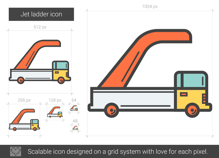 Jet ladder vector line icon isolated on white background. Jet ladder line icon for infographic, website or app. Scalable icon designed on a grid system.
