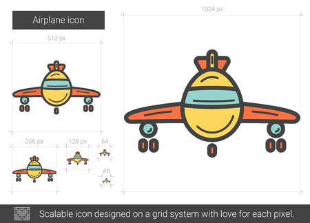 Airplane vector line icon isolated on white background. Airplane line icon for infographic, website or app. Scalable icon designed on a grid system.