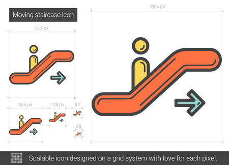 Moving staircase vector line icon isolated on white background. Moving staircase line icon for infographic, website or app. Scalable icon designed on a grid system. 向量圖像
