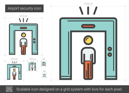 passing: Airport security vector line icon isolated on white background. Airport security line icon for infographic, website or app. Scalable icon designed on a grid system. Illustration