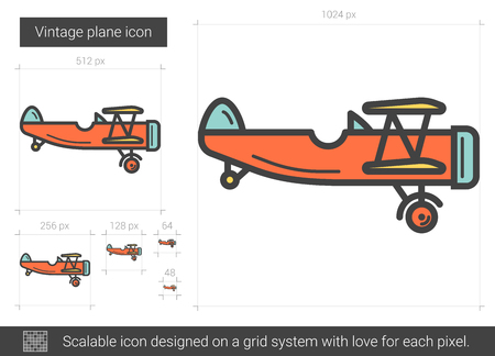 Icona di linea di vettore aereo d'epoca isolato su priorità bassa bianca. Icona della linea aerea vintage per infografica, sito Web o un'applicazione. Icona scalabile progettata su un sistema a griglia. Archivio Fotografico - 80933375