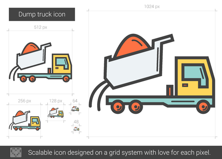 Dump truck vector line icon isolated on white background. Dump truck line icon for infographic, website or app. Scalable icon designed on a grid system.