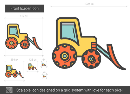 Front loader vector line icon isolated on white background. Front loader line icon for infographic, website or app. Scalable icon designed on a grid system.