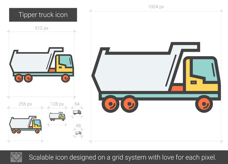 Tipper truck vector line icon isolated on white background. Tipper truck line icon for infographic, website or app. Scalable icon designed on a grid system.