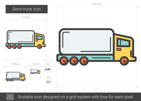 scalable: Semi-truck vector line icon isolated on white background. Semi-truck line icon for infographic, website or app. Scalable icon designed on a grid system.