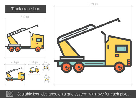 Truck crane vector line icon isolated on white background. Truck crane line icon for infographic, website or app. Scalable icon designed on a grid system. Иллюстрация