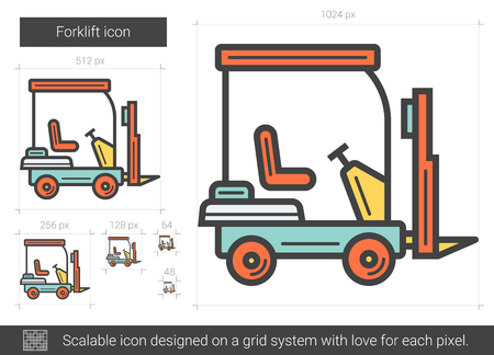 Forklift line icon. Illustration