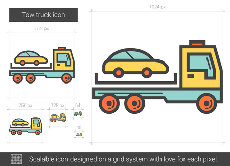 the wrecker: Tow truck line icon.
