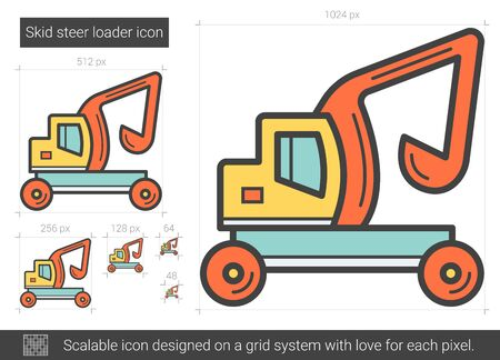 skid: Skid steer loader line icon.