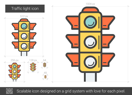 street lamp: Traffic light line icon. Illustration