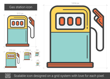 fillup: Gas station line icon. Illustration