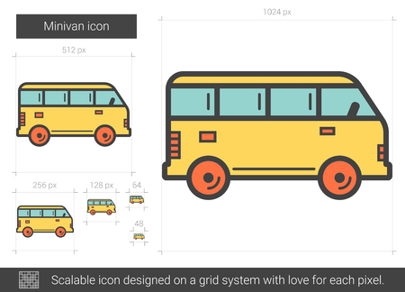 Minivan line icon. Illustration