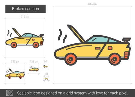 Broken car line icon. Illustration
