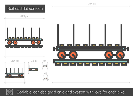 scalable: Railroad flat car line icon.