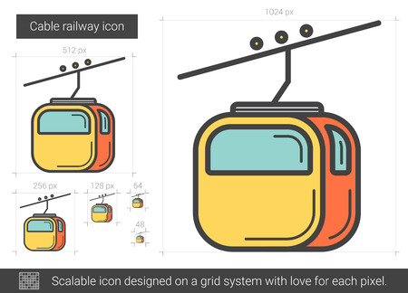 Cable railway line icon.