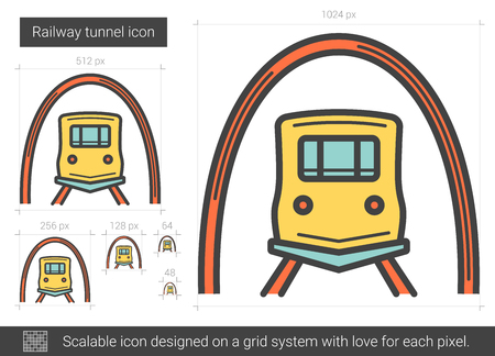scalable: Railway tunnel line icon.