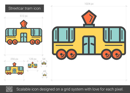 Streetcar tram vector line icon isolated on white background. Streetcar tram line icon for infographic, website or app. Scalable icon designed on a grid system.