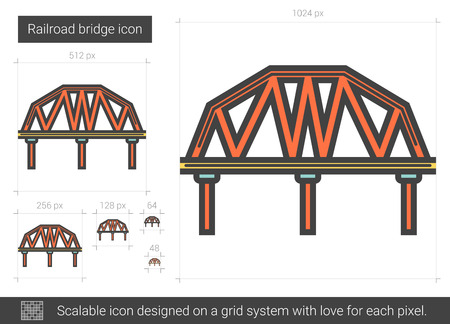 Railroad bridge vector line icon isolated on white background. Railroad bridge line icon for infographic, website or app. Scalable icon designed on a grid system. Çizim