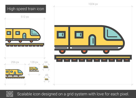 quickly: High speed train vector line icon isolated on white background. High speed train line icon for infographic, website or app. Scalable icon designed on a grid system.