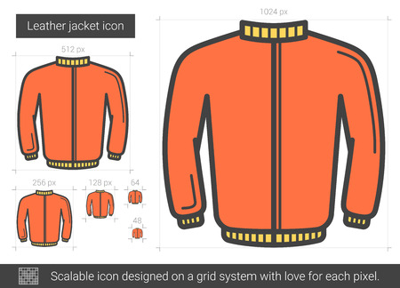 Leather jacket vector line icon isolated on white background. Leather jacket line icon for infographic, website or app. Scalable icon designed on a grid system.