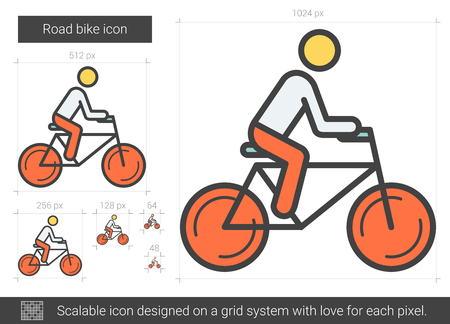 hombre flaco: Road bike vector line icon isolated on white background. Road bike line icon for infographic, website or app. Scalable icon designed on a grid system.