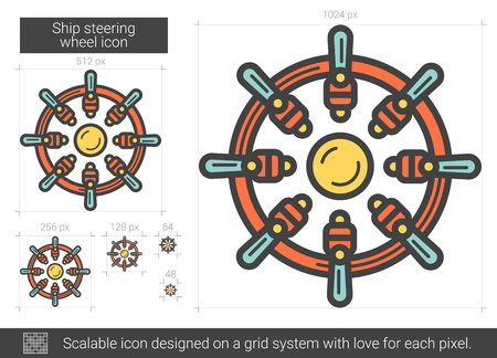 Ship steering wheel vector line icon isolated on white background. Ship steering wheel line icon for infographic, website or app. Scalable icon designed on a grid system. 向量圖像